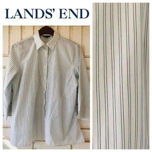 Lands End 16 XL 1X Blouse Shirt Top Green Stripe